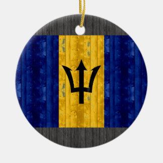 Wooden Barbadian Flag Christmas Ornament