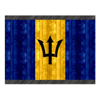 Wooden Barbadian Flag Postcard