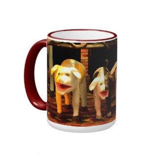 Wooden Barking Dogs Ringer Coffee Mug