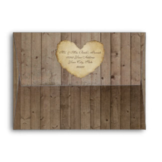 Wooden Barn Board Fence w Heart Rustic Wedding Envelope