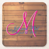 Wooden Barn Wall 3d Farm Monogram Square Paper Coaster
