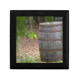 wooden barrel right with green frond left keepsake boxes
