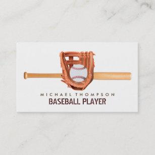 American baseball business cards templates zazzle wooden baseball bat ball and glove baseball business card colourmoves