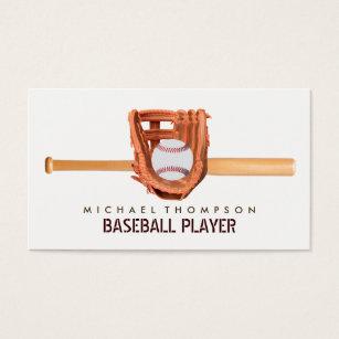 Baseball business cards templates zazzle wooden baseball bat ball and glove baseball business card colourmoves Choice Image