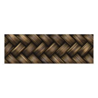 Wooden Basket Weave Mini Business Card
