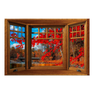 Wooden Bay Window Illusion - Autumn Landscape Poster
