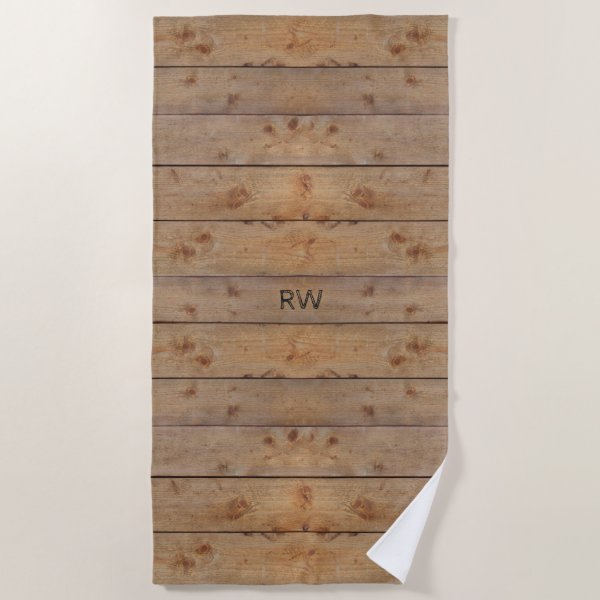 """""""Wooden"""" Beach Towel with (or without) Initial(s)"""