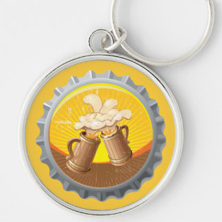 Wooden Beer Cups In Love Keychain