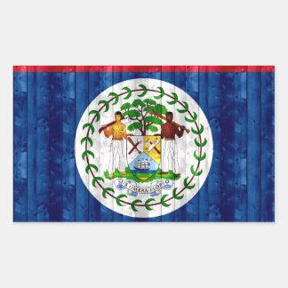 Wooden Belizean Flag Rectangular Sticker