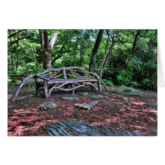 Wooden bench in Central Park, NYC Card