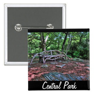Wooden bench in Central Park, NYC Pinback Button