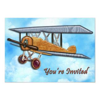 Wooden Biplane in Blue Sky & Clouds Invite