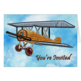 Wooden Biplane in Blue Sky & Clouds Invite Card
