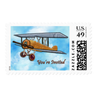 Wooden Biplane in Blue Sky & Clouds Invite Postage