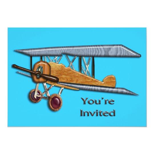 Wooden Biplane Invite