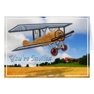 Wooden Biplane Over Farm Field Invitation