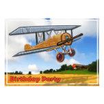 Wooden Biplane Over Fields Birthday Invitation
