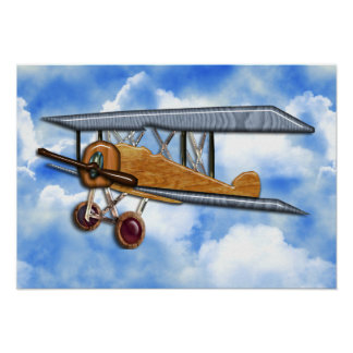 Wooden Biplane Poster