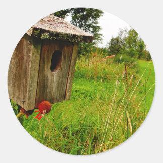 Wooden Birdhouse Classic Round Sticker