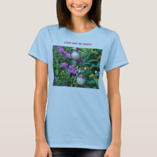 Wooden Birds Among The Blooms, Sing And Be Happy T-Shirt