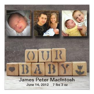 Wooden Blocks Baby Announcement