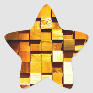 Wooden Blocks Pattern Star Sticker