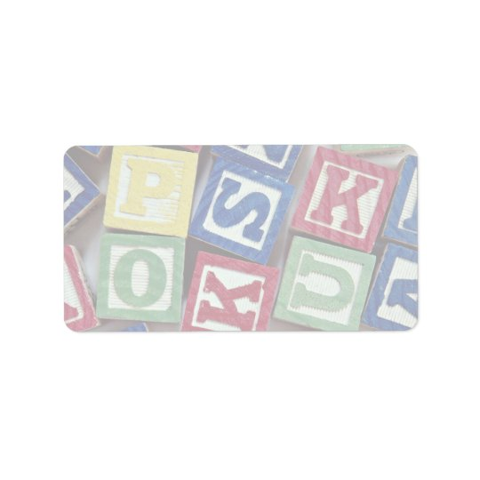 Wooden blocks with alphabets for kids label