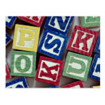 Wooden blocks with alphabets for kids postcard