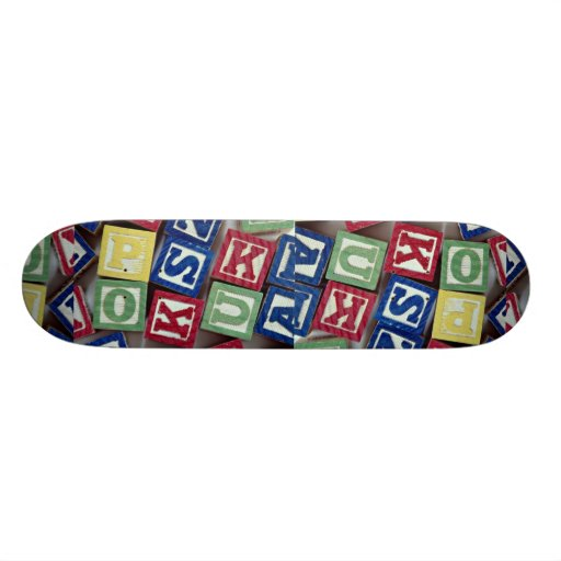 Wooden blocks with alphabets for kids custom skate board