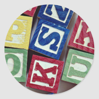 Wooden blocks with alphabets for kids stickers