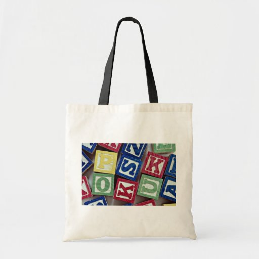Wooden blocks with alphabets for kids tote bag