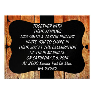 Wooden board texture personalized announcement