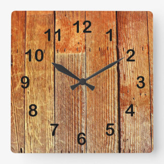 Wooden board texture square wall clock