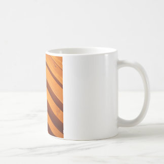 Wooden boards wall with wide angle fisheye view coffee mug