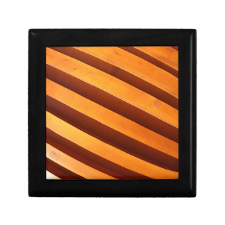 Wooden boards wall with wide angle fisheye view gift box