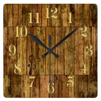 Wooden Boards Wood Panel Effect Clock