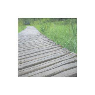 Wooden Boardwalk Hiking Trail Stone Magnet