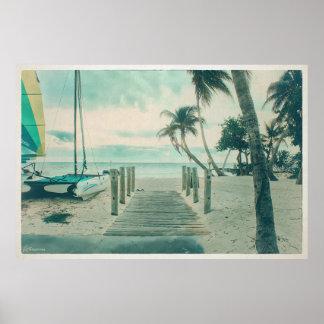 Wooden Boardwalk onto Smathers Beach, Key West FL Poster