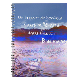 Wooden boat with message. notebook
