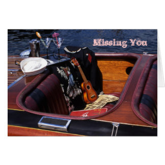 Wooden Boat with Sailor Uniform, Missing You Card