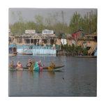 Wooden boats on Dal Lake in Kashmir Tile