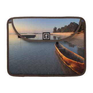 Wooden boats on Tondooni Beach Sleeves For MacBooks