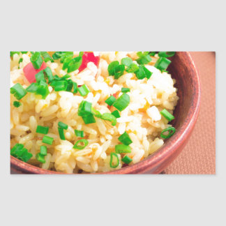 Wooden bowl of cooked rice and leek rectangular sticker
