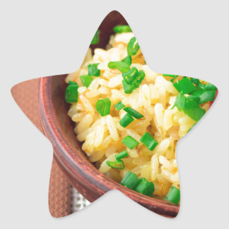 Wooden bowl of cooked rice and vegetables star sticker