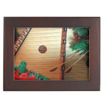 Wooden Box with Musical Christmas design