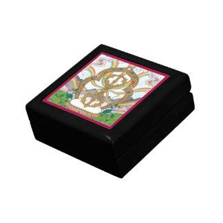 WOODEN BOX WITH TILE - Vajra (tib.: dorje) Trinket Boxes