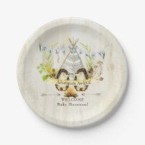 Wooden Boy Baby Shower Hedgehog Adventure Awaits Paper Plate