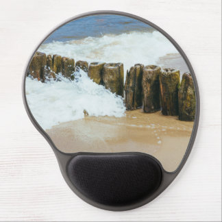 Wooden Breakwater and Waves Photography Gel Mouse Pad