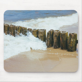 Wooden Breakwater and Waves Photography Mouse Pad