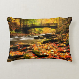 Wooden Bridge and Creek in Fall Accent Pillow